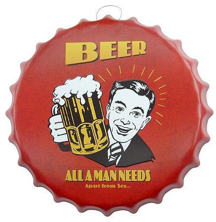 Placa Metal Beer Man Formato Tampa