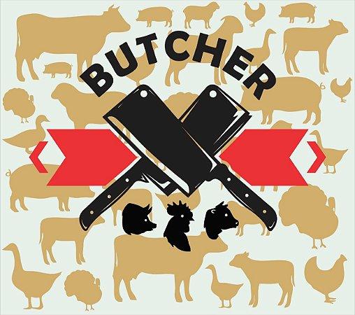 Placa Butcher Churrasqueira Pintura Laca Mdf 3D