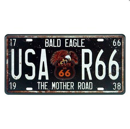 Placa Route 66 Águia Metal Alto Relevo