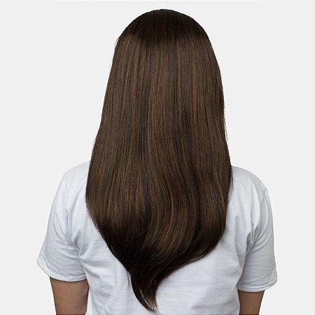 Aplique Liso Longo Hairdo 63cm Chocolate Com Mechas Cobre