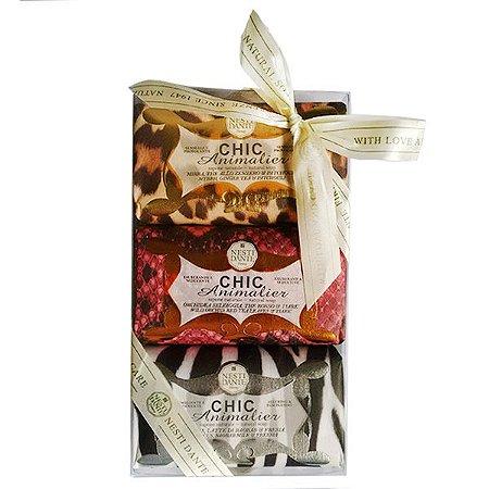 Kit Gift Chic Animalier com 3 sabonetes Nesti Dante 250g