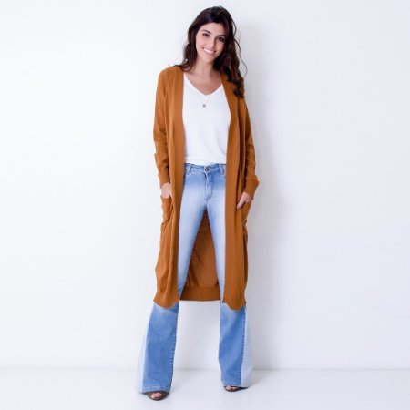 Maxi Cardigan Tricot Comphy Camel