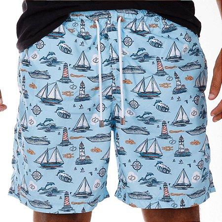 Short Masculino Estampado Barcos