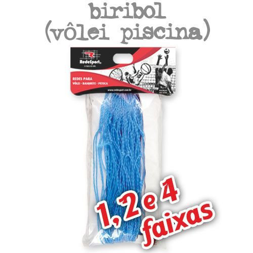 Rede para Vôlei Piscina Azul Biribol - 5,00m (1, 2 e 4 Faixas)
