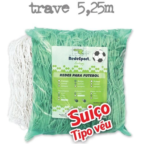 Rede para Gol Trave Oficial Futebol SUIÇO 5,25m Ecology - Tipo Véu (par)