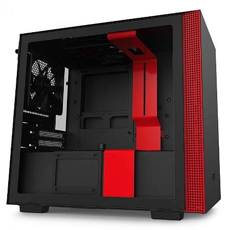 GABINETE GAMER NZXT H210 MATTE BLACK/RED - CA-H210B-BR