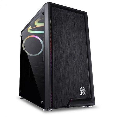 GABINETE GAMER PCYES MID-TOWER POLARIS PRETO 3 FANS RGB LATERAL EM VIDRO TEMPERADO - PLPTRGB3FV