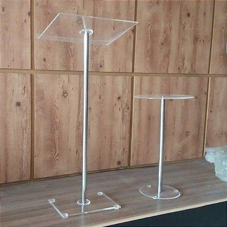 Púlpito de Aço Inox e Acrílico Cristal + Mesinha Estilo Hillsong Slim