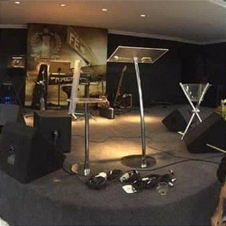 Púlpito Hillsong Betel e Mesa Aparador - Inox e Acrílico Cristal