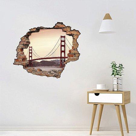 Adesivo Buraco 3D - Ponte Golden Gate
