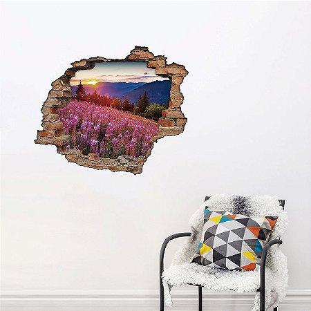 Adesivo Buraco 3D - Campo de Flores