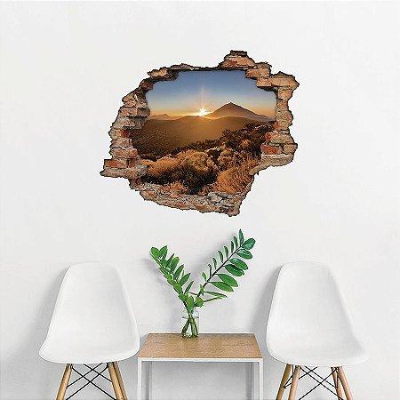 Adesivo Buraco 3D - Pôr do sol na Montanha