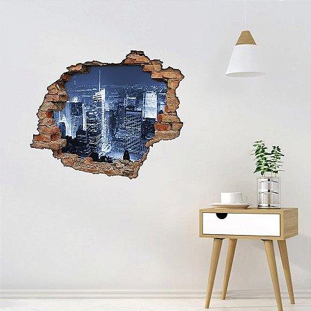 Adesivo Buraco 3D - Cidade a Noite