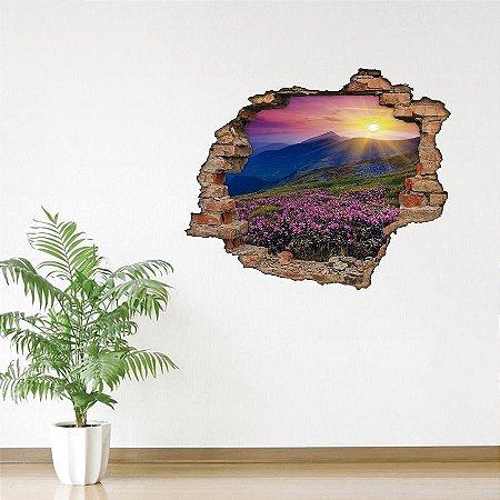 Adesivo Buraco 3D - Sol nas Montanhas