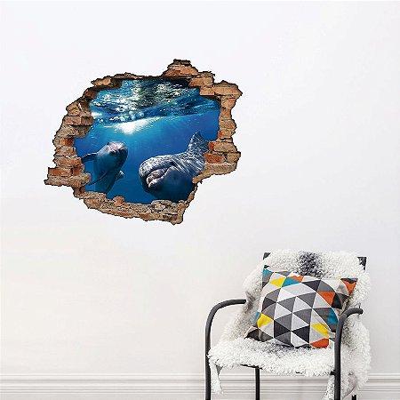 Adesivo Buraco 3D - Golfinhos