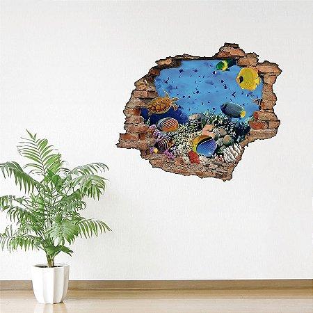 Adesivo Buraco 3D - Peixes