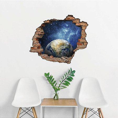 Adesivo Buraco 3D - Planeta Terra