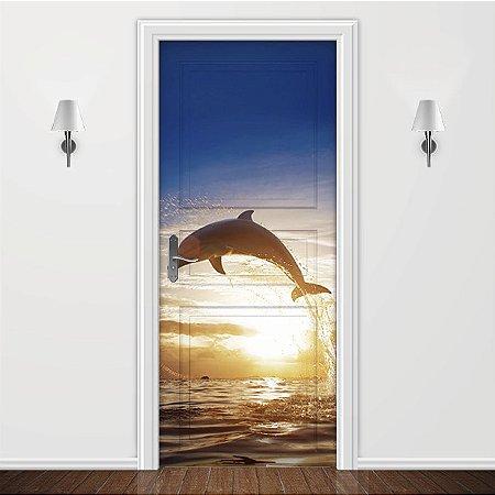 Adesivo para Porta - Por do sol golfinho