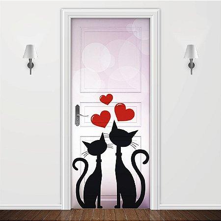 Adesivo para Porta Animais - Gatinhos Apaixonados