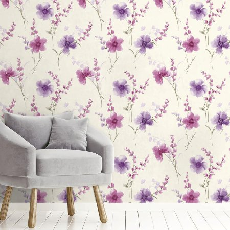 Papel de Parede Adesivo Azaleia Lavanda e Rosa