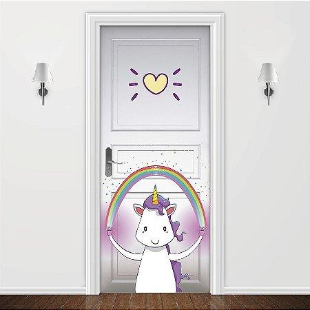 Adesivo para Porta Love Unicorn Branco
