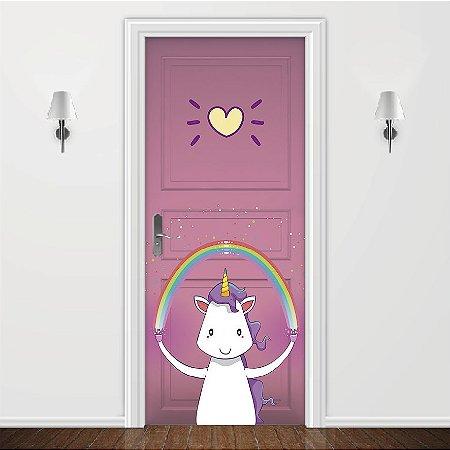 Adesivo para Porta Love Unicorn Pink