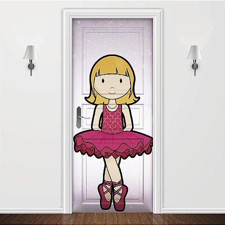 Adesivo para Porta Infantil Bailarina Pink