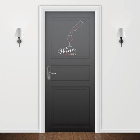 Adesivo para Porta Wine Red & White
