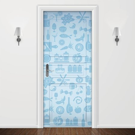 Adesivo para Porta Cozinha Azul