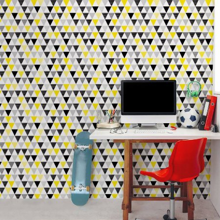 Papel de Parede Adesivo Geométrico Triângulos Amarelo e Preto