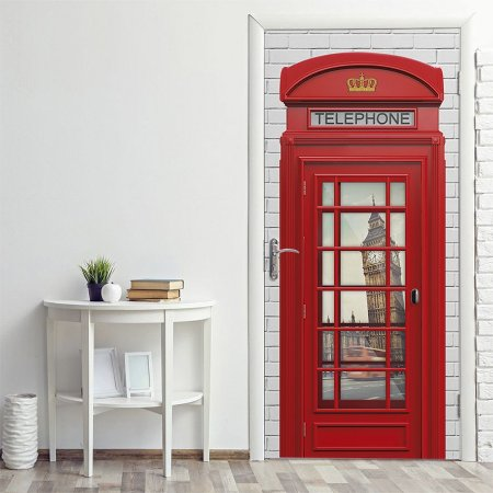 Adesivo para Porta Cabine Telefônica Londres Rústico
