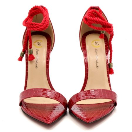Sandália Santa Fé Bico de Folha - Croco Vermelho