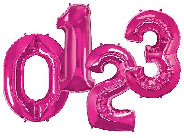 Balões de Número Metalizado - Rosa Pink (90cm)