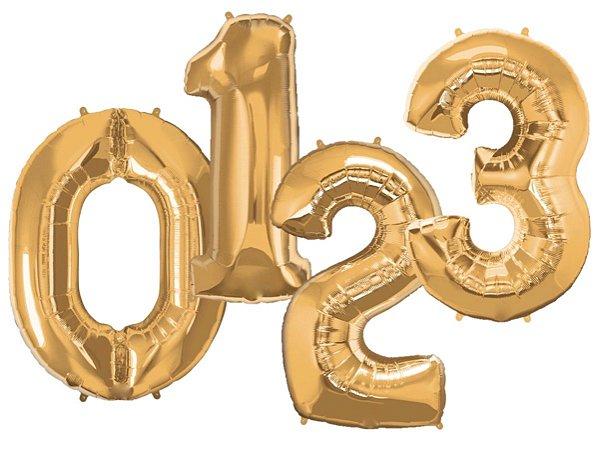 Balões de Número Metalizado - Dourado (90cm)