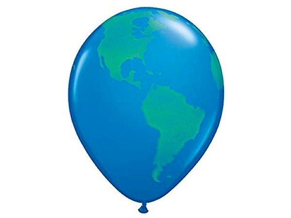 "Balão Látex 16"" - Planeta Terra (5 un)"
