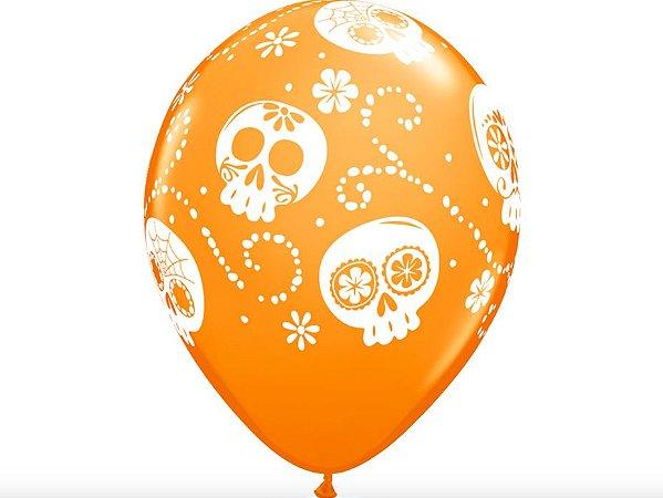 "Balão Halloween Caveira Mexicana 11"" - Laranja"