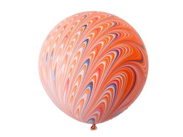 "Balão Látex 18"" Marmorizado Pavão - Laranja"