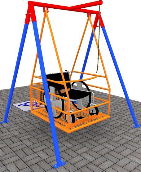 Brinquedo balanço simples para cadeira de rodas