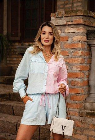 Camisa Bicolor Manga Bufante
