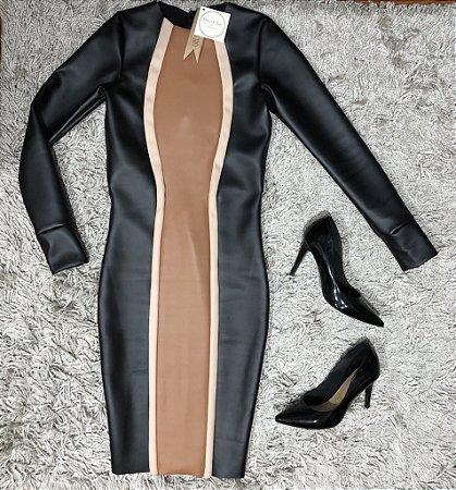 Vestido Couro Eco Curve