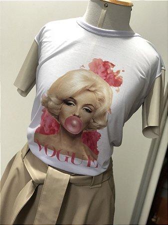 T-Shirt Marilyn Monroe Manga Couro Eco