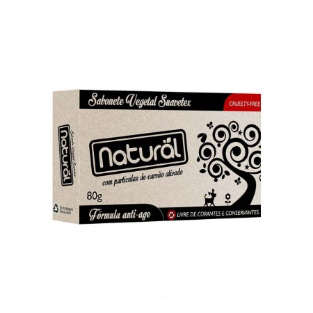 Sabonete Natural Suavetex Com Carvão Ativado 80g