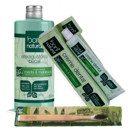 Kit Creme Dental + Natural Escova De Bambu + Enxague Bucal