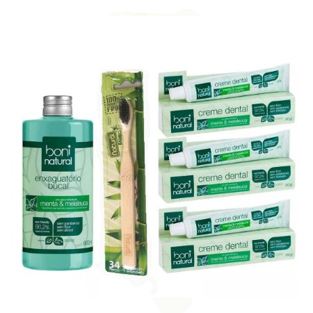Kit 3 Creme Dental + Natural Escova De Bambu + Enxague Bucal