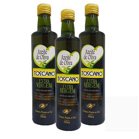 3 Azeite Espanhol Toscano 500 Ml Cada Acidez 0,5% + Bico