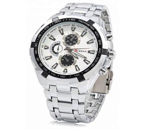 e97a13c5edb CURREN 8023 - Relógio Quartz Masculino - Branco + Preto + Prata ...