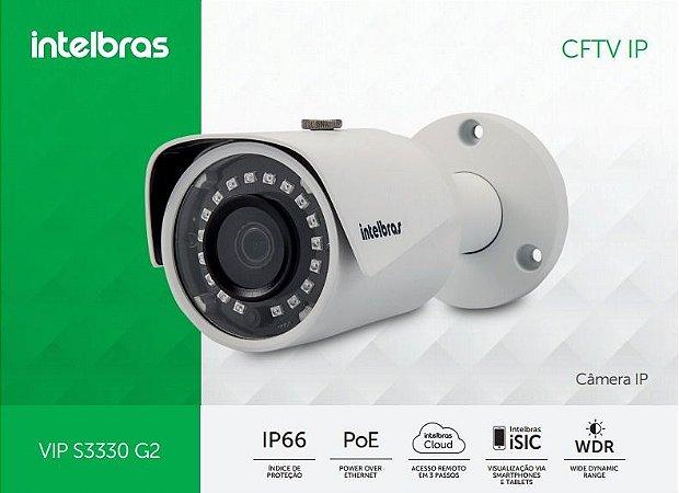 Câmera Intelbras Bullet Onvif IP VIP S3330 G2 Super HD ( 3.0MP   1536p   3.6mm   Metal )