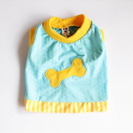 Camiseta Malha Azul/Amarelo Osso