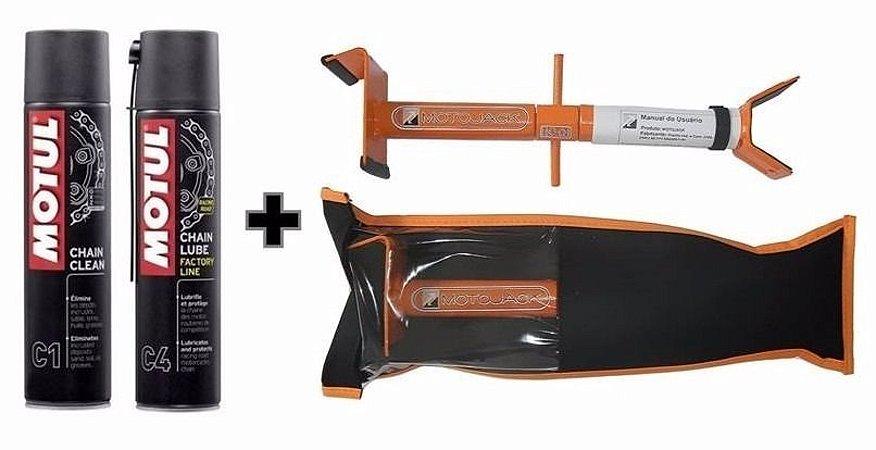 Motul Chain Clean C1 e Chain Lube C4 + Motojack Cavalete