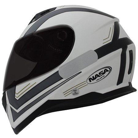 Capacete Nasa Sh-881 Elegance Branco e Preto